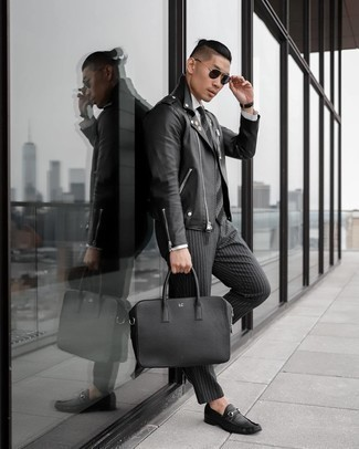 Black Leather Briefcase Outfits: A black leather biker jacket and a black leather briefcase worn together are the ideal combination for those dressers who prefer casually dapper styles. Rounding off with a pair of black leather loafers is a guaranteed way to bring some extra zing to your outfit.