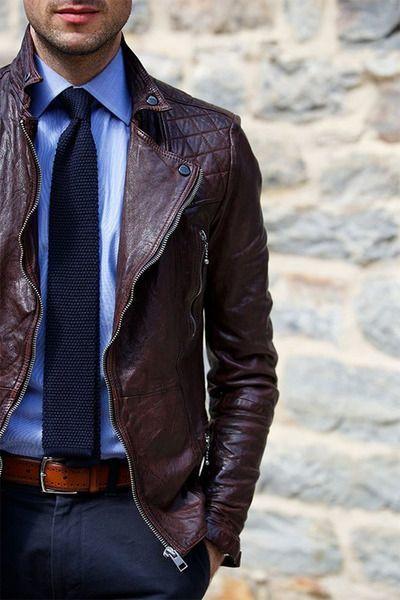 How to Wear a Dark Brown Leather Biker Jacket (11 looks) | Men's ...