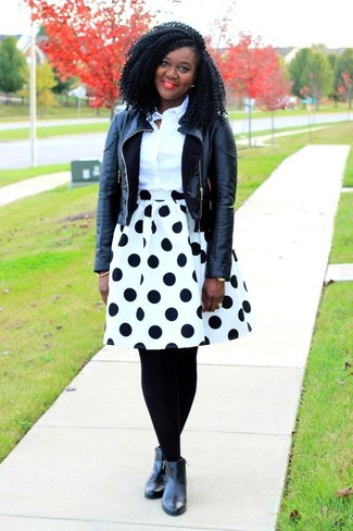 How to wear: black leather biker jacket, white dress shirt, white and black polka dot full skirt, black leather ankle boots