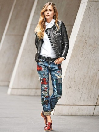 How to wear: black leather biker jacket, white dress shirt, blue patchwork jeans, red leather double monks