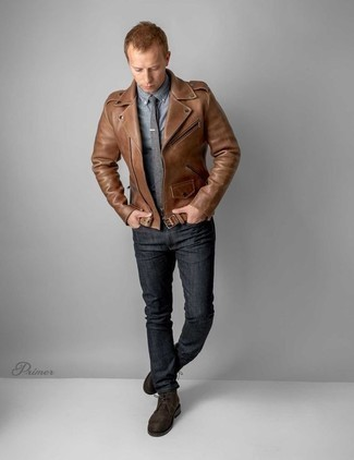 Grey Tie Outfits For Men: This is definitive proof that a brown leather biker jacket and a grey tie are awesome when paired together in an elegant ensemble for a modern man. Why not complete this outfit with a pair of dark brown suede desert boots for a sense of stylish nonchalance?