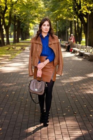 How to wear: tobacco leather biker jacket, blue dress shirt, tobacco leather mini skirt, black leather heeled sandals