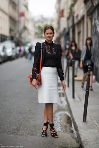 Wear a black lace biker jacket with a white pencil skirt for a casual level of dress. Add black suede heeled sandals to your look for an instant style upgrade. As the weather starts getting warmer, it's time to get rid of those bulky winter clothes and choose something lighter, like this getup here.