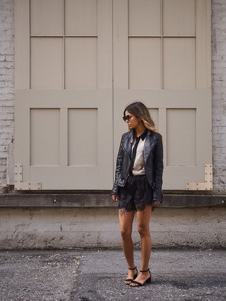 How to wear: black leather biker jacket, white and black dress shirt, black lace shorts, black leather heeled sandals