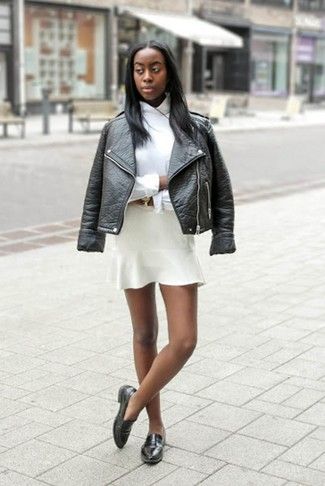 How to wear: black leather biker jacket, white dress shirt, white skater skirt, black leather loafers