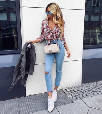 How to wear: grey suede biker jacket, white and red and navy plaid dress shirt, light blue ripped skinny jeans, white leather low top sneakers