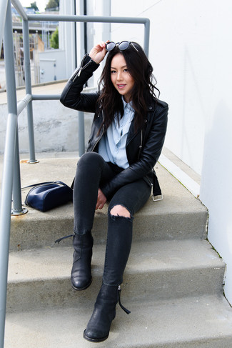 How to wear: black leather biker jacket, light blue dress shirt, black ripped skinny jeans, black leather chelsea boots