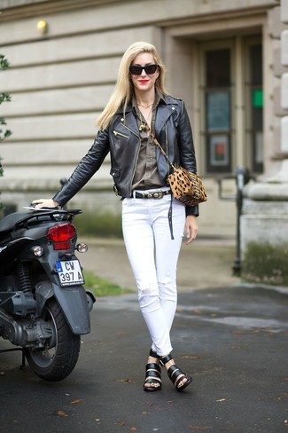 How to Wear a Tobacco Suede Crossbody Bag: Wear a black leather biker jacket and a tobacco suede crossbody bag for a comfy-casual ensemble. Our favorite of a variety of ways to finish this outfit is a pair of black leather gladiator sandals.