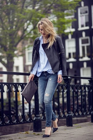 Navy blue leather jacket outfits – Modern fashion jacket photo blog