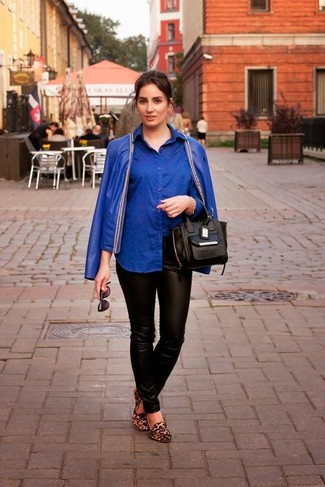 How to wear: blue leather biker jacket, blue dress shirt, black leather skinny pants, brown leopard suede loafers