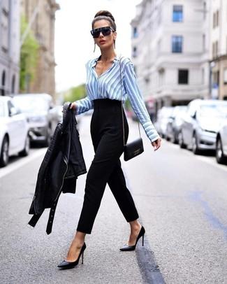How to wear: black leather biker jacket, light blue vertical striped dress shirt, black tapered pants, black leather pumps