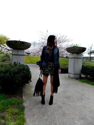 Pottery Embroidered Leather Moto Jacket Tory Navy