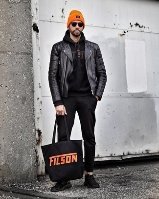 How to Wear a Black Leather Biker Jacket For Men: A black leather biker jacket looks so cool when paired with black chinos. Black athletic shoes will bring a dash of stylish casualness to an otherwise standard ensemble.