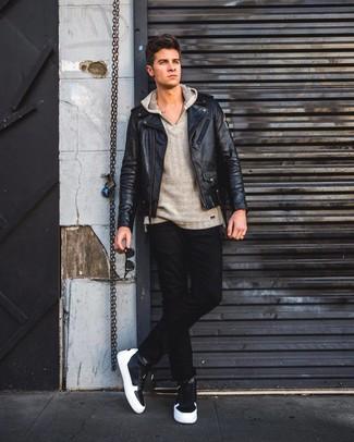 How to wear: black leather biker jacket, grey hoodie, black jeans, black leather high top sneakers