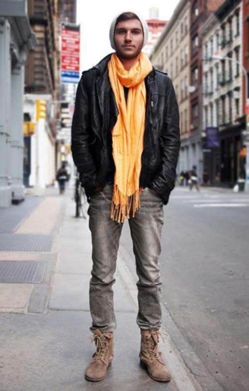 Black Leather Jacket Brown Boots - JacketIn