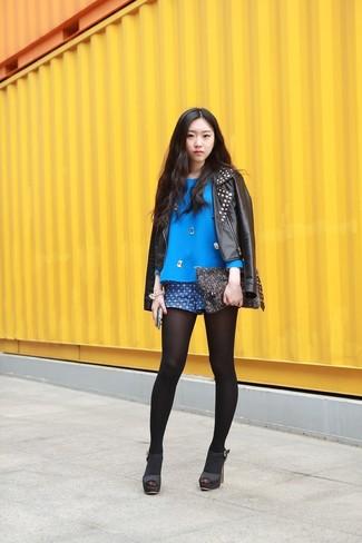How to wear: black studded leather biker jacket, blue embellished long sleeve blouse, blue geometric shorts, black leather heeled sandals