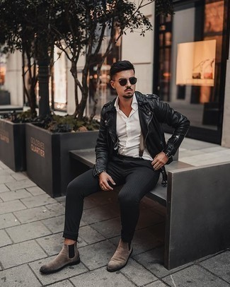 Dark Green Sunglasses Outfits For Men: Opt for a black leather biker jacket and dark green sunglasses for a stylish and casual ensemble. If you want to break out of the mold a little, add tan suede chelsea boots to this look.