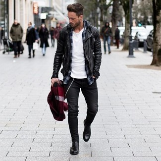 Choose a black leather biker jacket and a scarf to show off your styling smarts. And if you want to instantly up the style ante of your look with one piece, add black leather chelsea boots to the mix. We guarantee this combo is the perfect antidote to bleak fall days.