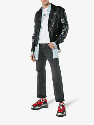 How to wear: black print leather biker jacket, light blue vertical striped long sleeve shirt, white and black print crew-neck t-shirt, charcoal ripped jeans