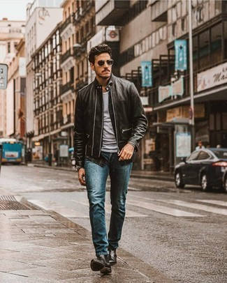 Charcoal Leather Watch Outfits For Men: Wear a black leather biker jacket and a charcoal leather watch for a fashionable and urban look. Black leather chelsea boots are an effortless way to bring an added dose of style to your outfit.