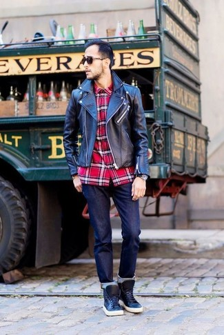 How to wear: black leather biker jacket, red plaid long sleeve shirt, navy jeans, black leather high top sneakers