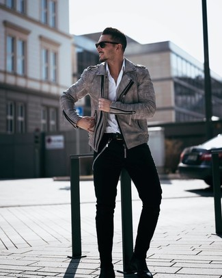 How to wear: grey leather biker jacket, white long sleeve shirt, black jeans, black leather chelsea boots