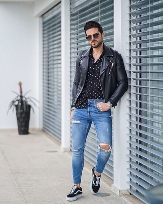 How to Wear Navy Sunglasses For Men: To create a laid-back look with a city style finish, marry a black leather biker jacket with navy sunglasses. Black and white canvas low top sneakers will effortlessly dress up even the laziest of outfits.