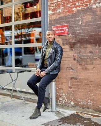 Black Watch Chill Weather Outfits For Men: Consider pairing a black embellished leather biker jacket with a black watch if you seek to look casually cool without putting in too much effort. Step up your ensemble by sporting dark green suede chelsea boots.