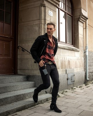 How to wear: black suede biker jacket, red and black check flannel long sleeve shirt, black skinny jeans, black suede cowboy boots