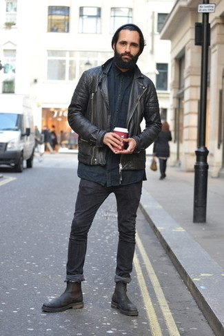 How to Wear a Black Long Sleeve Shirt For Men: If you're looking for a casual yet on-trend ensemble, choose a black long sleeve shirt and black skinny jeans. If you want to easily polish up this outfit with shoes, add a pair of black leather chelsea boots to this ensemble.