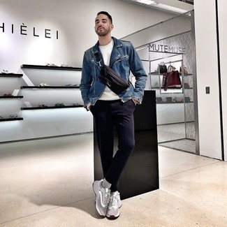 Men's Looks & Outfits: What To Wear Casually: Go for a straightforward yet casually cool option in a blue biker jacket and navy chinos. Finishing off with a pair of grey athletic shoes is a fail-safe way to infuse a more casual twist into this ensemble.