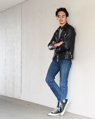 Blue Jeans with Black Leather Jacket Outfits For Men: This laid-back pairing of a black leather jacket and blue jeans is a never-failing option when you need to look cool and casual but have zero time. Put a dressed-down spin on an otherwise mostly classic look by slipping into black and white canvas high top sneakers.