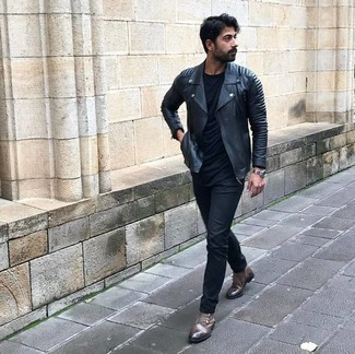 Brown Leather Chelsea Boots Outfits For Men: For comfort dressing with a modern spin, you can rely on a black quilted leather biker jacket and black jeans. You could perhaps get a little creative when it comes to shoes and elevate your getup by finishing off with a pair of brown leather chelsea boots.