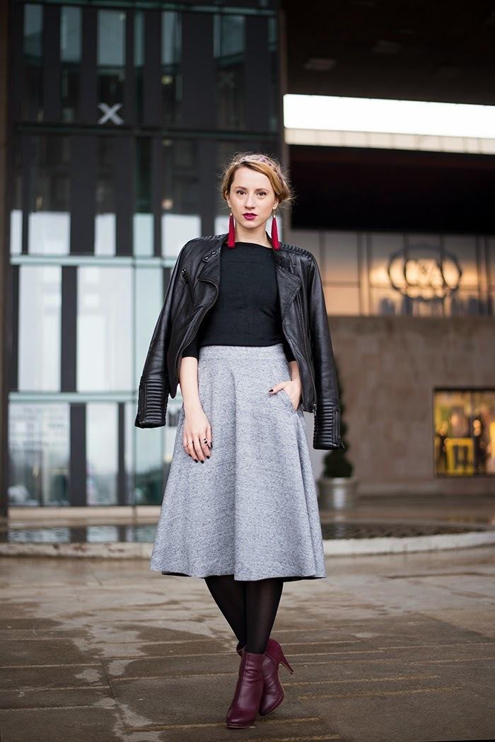 Grey Pleated Midi Skirt | Women's Fashion