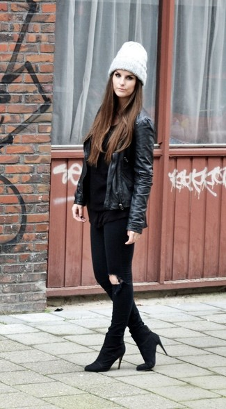 How to wear: black leather biker jacket, black long sleeve t-shirt, black ripped skinny jeans, black suede ankle boots