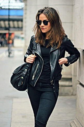 Black Long Sleeve T-shirt Outfits For Women: This off-duty pairing of a black long sleeve t-shirt and black skinny jeans is a lifesaver when you need to look nice but have zero time.