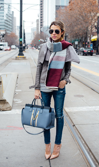 How to wear: grey leather biker jacket, white and black horizontal striped long sleeve t-shirt, blue ripped skinny jeans, tan leather pumps