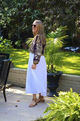 How to wear: purple embroidered biker jacket, white maxi dress, tan leather heeled sandals, brown and gold sunglasses