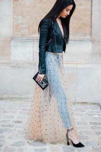 How to wear: black quilted leather biker jacket, beige polka dot tulle maxi dress, light blue jeans, black suede pumps