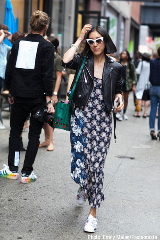 How to wear: black leather biker jacket, navy floral maxi dress, white floral low top sneakers, green leather bucket bag