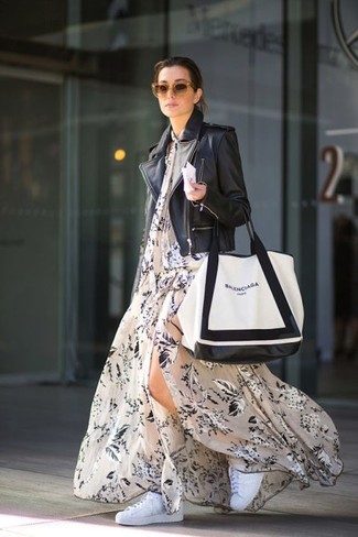 How to wear: black leather biker jacket, beige floral maxi dress, white low top sneakers, white and black leather tote bag