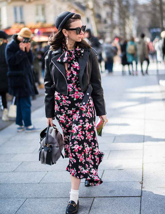 Black Leather Biker Jacket Outfits For Women: A black leather biker jacket looks so great when paired with a black floral midi dress in an off-duty look. And if you need to effortlessly spruce up your ensemble with footwear, complement this getup with a pair of black leather loafers.