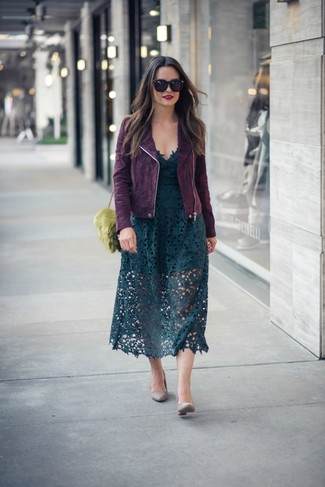 How to Wear Grey Leather Pumps: This look with a dark purple suede biker jacket and a dark green lace midi skirt isn't a hard one to achieve and is open to more creative experimentation. Switch up this look with grey leather pumps.