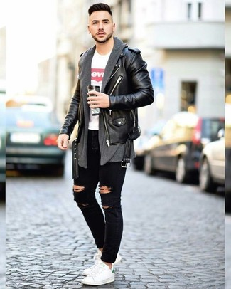 If you're all about relaxed dressing when it comes to your personal style, you'll love this on-trend combination of a Paul Smith men's Ps Leather Biker Jacket and black ripped skinny jeans. Bring instant interest and excitement to your look with white leather low top sneakers. If you're already bored of your fall fashion options, this look just might be the inspiration you are looking for.