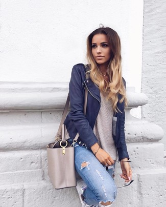 def25f27a67e Which Jeans To Wear With a Navy Leather Jacket For Women (16 looks ...