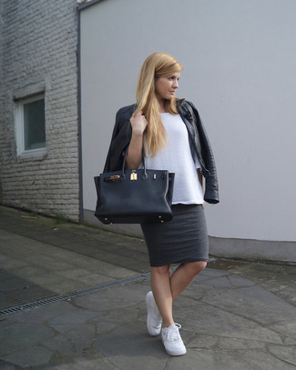 How to wear: black leather biker jacket, white oversized sweater, charcoal pencil skirt, white low top sneakers