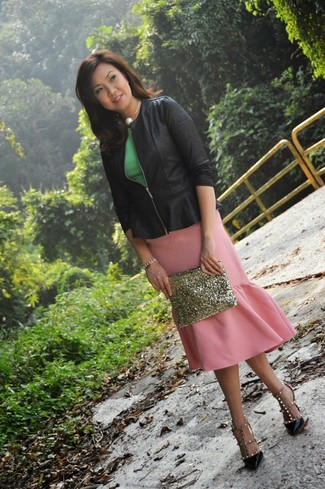 How to wear: black biker jacket, green peplum top, pink pencil skirt, black studded leather pumps