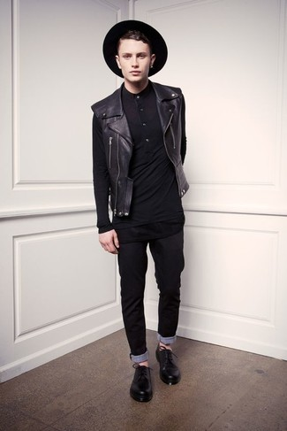 Ezra Slim Fit Leather Biker Jacket