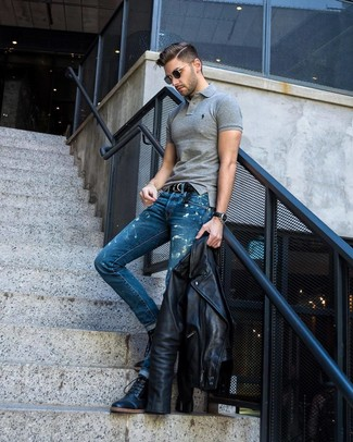 How to wear: black leather biker jacket, grey polo, blue acid wash jeans, black leather casual boots