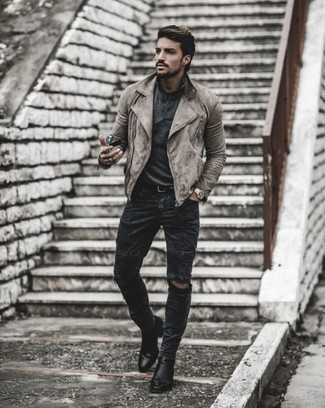 Charcoal Ripped Jeans Outfits For Men: If you're a fan of city casual pairings, then you'll appreciate this combo of a grey suede biker jacket and charcoal ripped jeans. If you want to immediately perk up this ensemble with one single piece, why not introduce a pair of black leather chelsea boots to the equation?